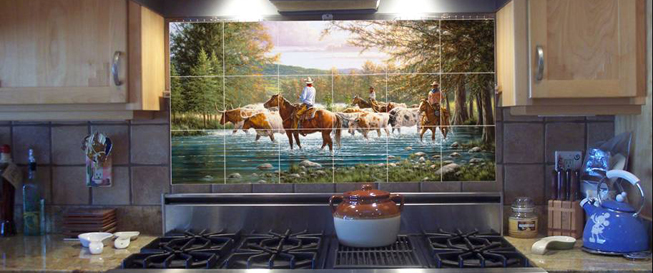 Mural backsplash